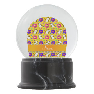 Personalized name yellow penguins flowers snow globe