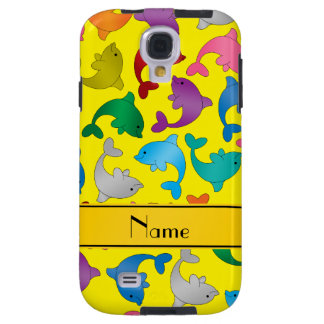 Personalized name yellow rainbow dolphins galaxy s4 case