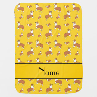 Personalized name yellow Welsh corgi pembroke dogs Baby Blanket