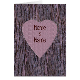 Personalized Names Carved In Tree Card - Pink