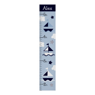 Personalized Nautical Sailboat Growth Chart Poster