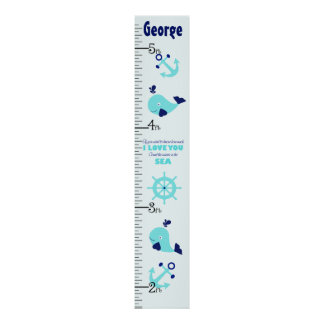 Personalized Nautical Whale Quote Growth Chart Poster