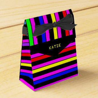 Personalized Neon Stripes Party Favor Box Wedding Favour Box