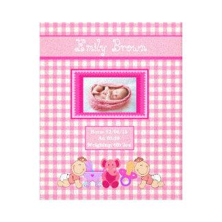 Personalized Newborn Baby Girl Photo Canvas Print