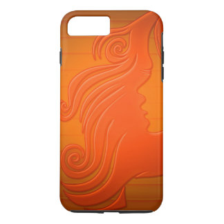 Personalized Orange Gold Woman Face Hair Girly iPhone 7 Plus Case