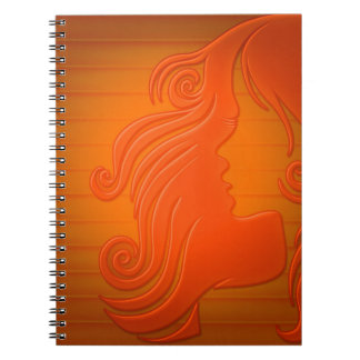 Personalized Orange Gold Woman Face Hair Girly Note Book