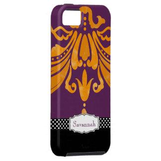 Personalized Orange Tangerine Eggplant Damask iPhone 5 Case