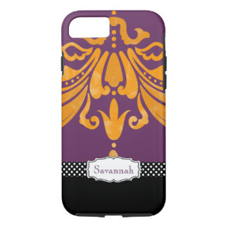Personalized Orange Tangerine Eggplant Damask iPhone 8/7 Case