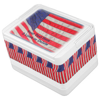 Personalized Patriotic Igloo Cooler American Flags Chilly Bin