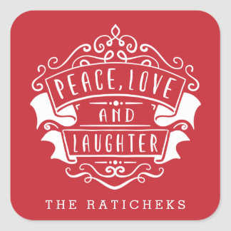 Personalized Peace, Love, and Laughter Stickers