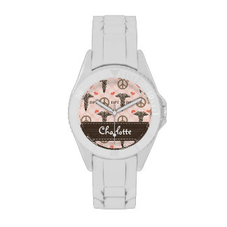 Personalized Peace Love Doctor of Physical Therapy Wristwatch