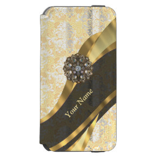Personalized peach vintage damask pattern incipio watson™ iPhone 6 wallet case