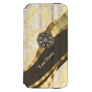 Personalized peach vintage damask pattern incipio watson™ iPhone 6 wallet case