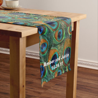 Personalized Peacock Feather Print Table Runner