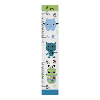 Personalized Peek A Boo Monsters Growth Chart Poster