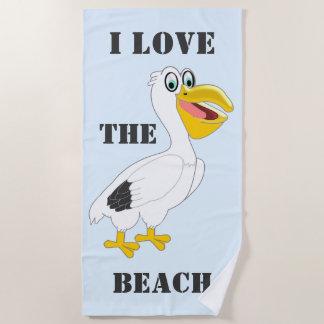 Personalized Pelican Design Beach Towel