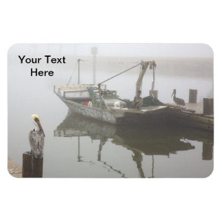 Personalized Pelicans and Fishing Boat Scene Rectangle Magnet
