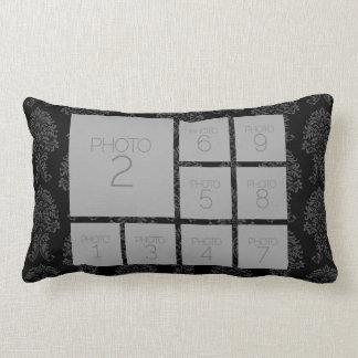 Personalized Photo Collage - 9 photos black Lumbar Pillow