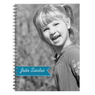 Personalized Photo Teal Blue Banner Custom Name Spiral Notebook