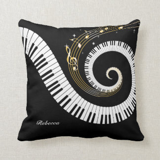 Personalized Piano Keys and Gold Music Notes Cushion