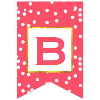 Personalized Pink and White Dot Gold Trim Wedding Bunting