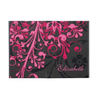 Personalized Pink Black Floral iPad Mini Folio Covers For iPad Mini