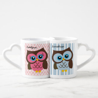 Personalized Pink & Blue Owl Heart Lovers Mug Set