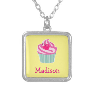 Personalized Pink Cupcake WIth Polka Dot Cherry Silver Plated Necklace