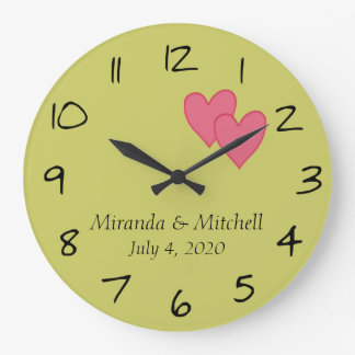 Personalized PInk Hearts Wedding Date Wallclock