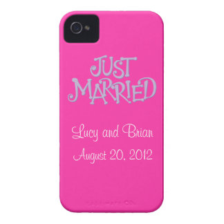 Personalized Pink Just Married iPhone 4 Case