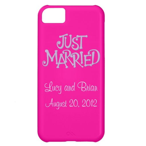 Personalized Pink Just Married iPhone 5 Case