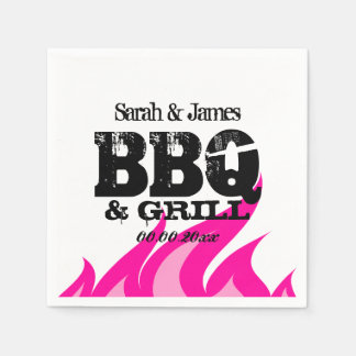 Personalized pink napkins for BBQ wedding party Paper Serviettes