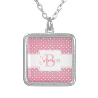 Personalized Pink Polka Dot Silver Plated Necklace