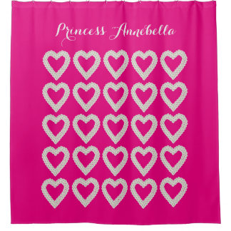 Personalized Pink Princess Shower Curtain
