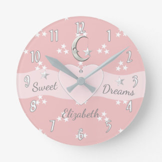 Personalized pink Stars & Moon Round Clock