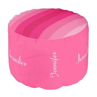 Personalized Pink Stripe Pouf Cushion, Seat
