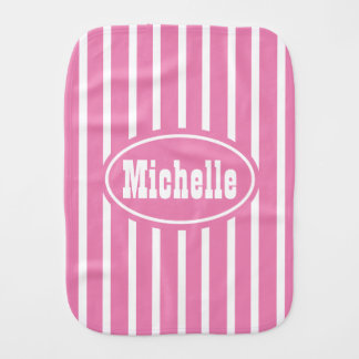 Personalized Pink V Stripe Western Baby Burp Cloth