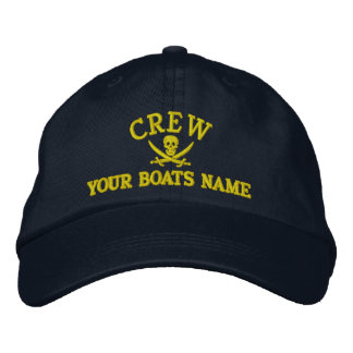 Personalized pirate sailing crew embroidered hat