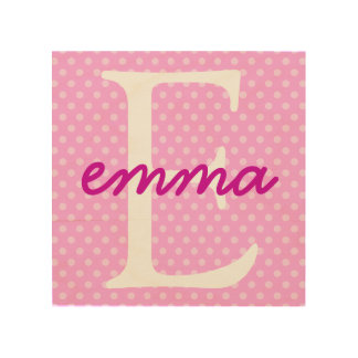 Personalized Polka Dot Wood Canvas