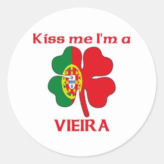 Personalized Portuguese Kiss Me I'm Vieira Classic Round Sticker