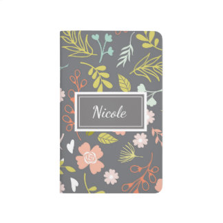 Personalized Pretty Patterned Journal Gray Floral