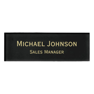 Personalized Professional Faux Gold Black Magnetic Name Tag