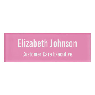 Personalized Professional Plain Pink Magnetic ID Name Tag