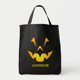 Personalized Pumpkin Smile Trick or Treat Tote Bag