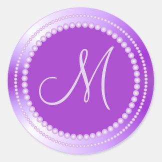 Personalized Purple Beads Wedding Monogram Seals Round Sticker