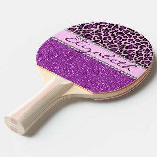 Personalized Purple Leopard Print Glitter Ping Pong Paddle