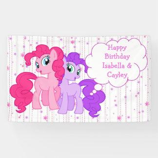 Personalized Purple & Pink Pony Twins Birthday