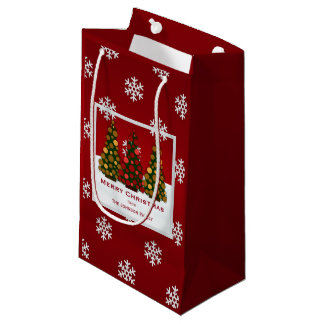 Personalized Red And Gold Christmas Tree Gift Bag