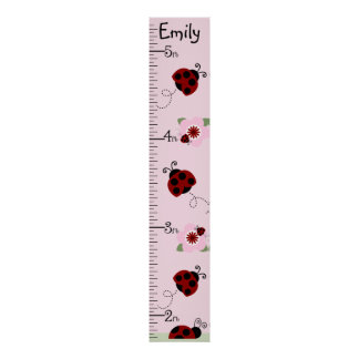 Personalized Red & Black Ladybugs Growth Chart Poster