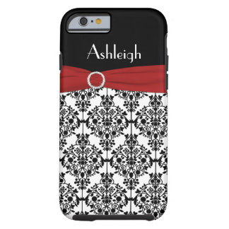 Personalized Red Black White Damask iPhone 6 case Tough iPhone 6 Case